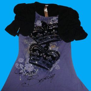 Beauties Purple Black Layered Top Girl Large 12